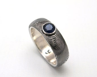 Stainless Steel Damascus Ring Lined in Sterling Silver with Sapphire