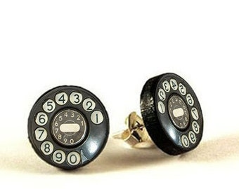 Vintage Telephone - handmade stud earrings - decoupage