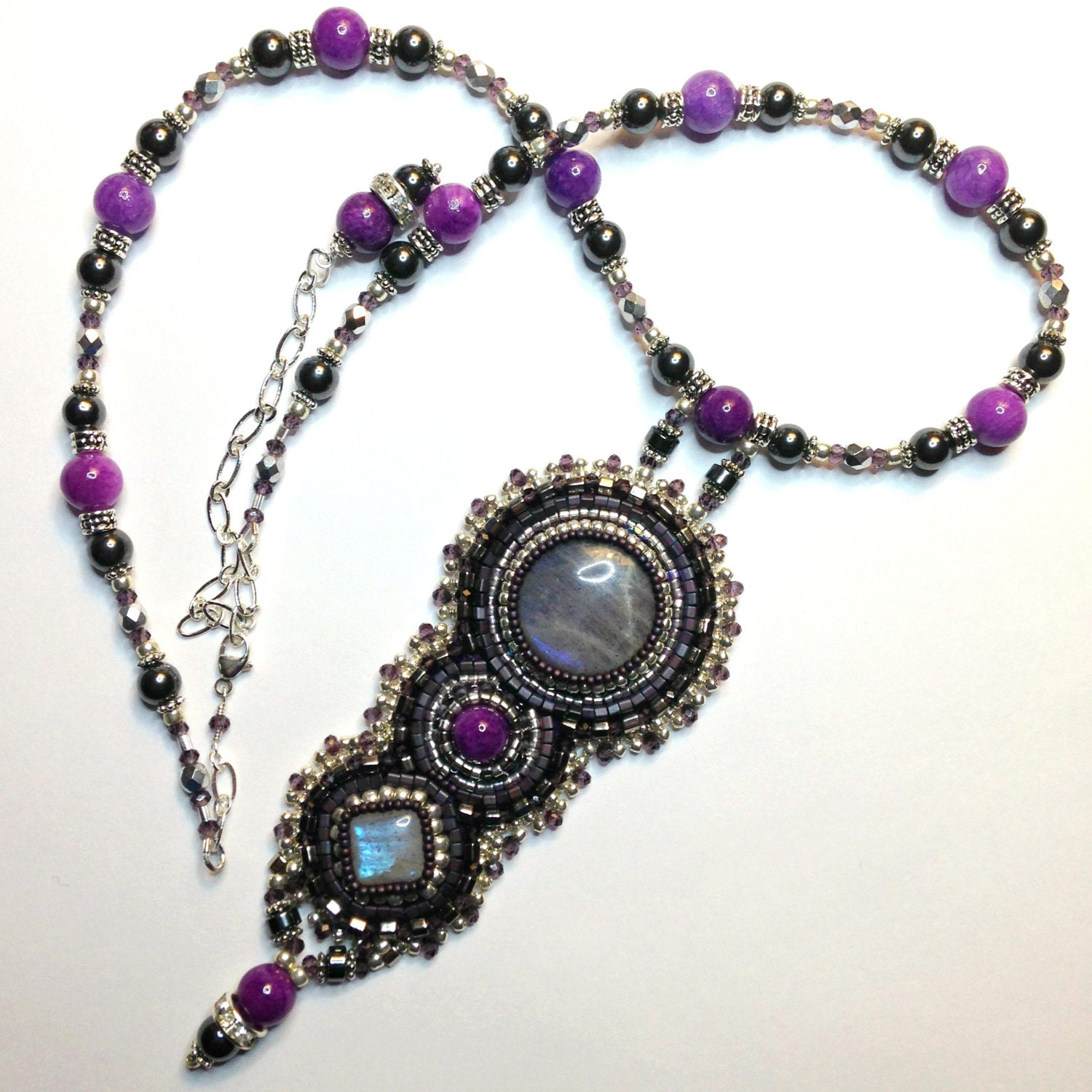 Labradorite bead embroidered necklace beaded by awenjewelry