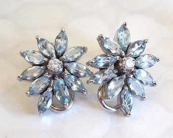 Aquamarine and Diamond Flower Earrings in White Gold