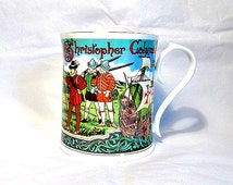 Christopher Columbus, Vintage Aynsley Bone China Cup, 500th Anniversary Columbus' Voyage to New World, Limited Edition Peter Jones Mug
