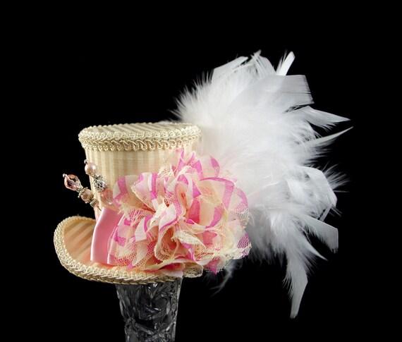 Cream and Pink Striped Flower Mad Hatter Medium Mini Top Hat Fascinator, Alice in Wonderland, Tea Party, Derby Hat