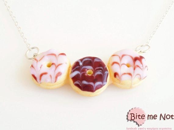Food Jewelry Mini Donut Statement Necklace