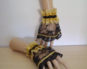 Wrist Cuffs Goth black gold lace wristcuffs