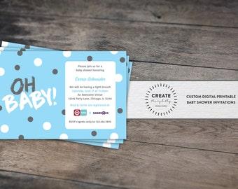 Blue and Grey Polka Dot Baby Shower Invitation Baby Boy. Custom Digital Printable