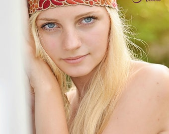 Floral Boho Headband - Boho Headband - Adult Headband - Womens Headband - Forehead Headband - Hippie Headband - Halo Headband - Tribal