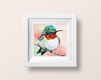 Hummingbird wall art Hummingbird print Bird art print Cheap wall art Fine art prints Green bird wall decor Prints of paintings Small 4x4