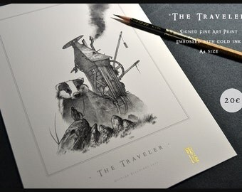 The Traveler - A4 size edition - Embossed Fine Art Print - Fantasy Art
