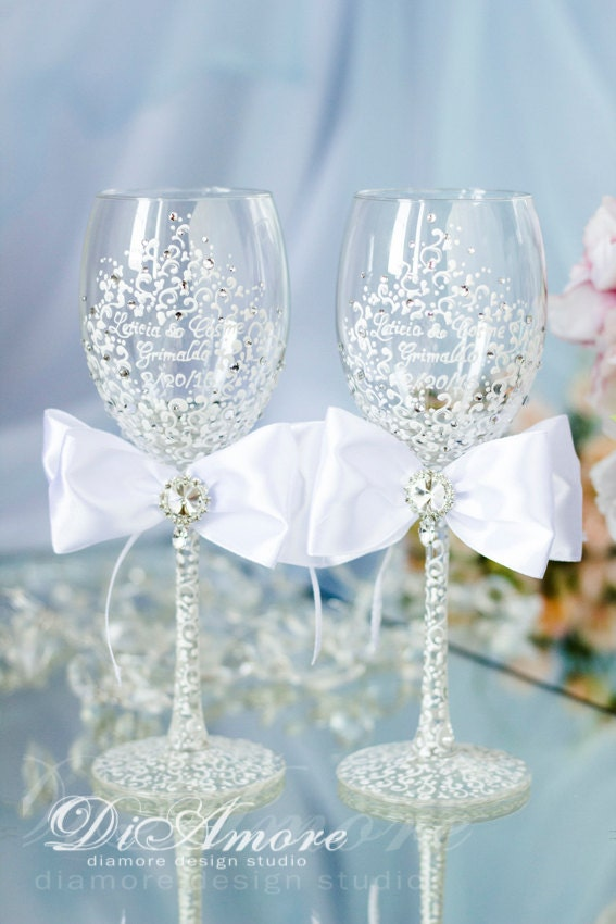 White Wedding Wine Glasses Personalized Glasses Bride and