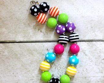 girls chunky necklace birthday bubblegum necklace mad hatter rainbow chunky bubblegum bead necklace rainbow necklace girls necklace