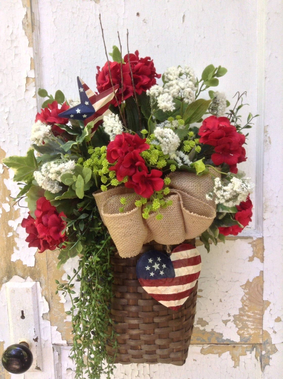 Patriotic Wreath For Door 4th Of July Wreath Basket