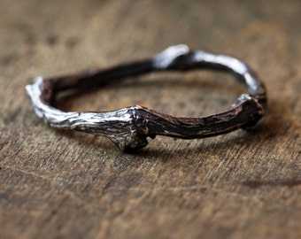 Patina Twig Ring, Sterling Silver Twi Ring, Oxidized Branch Ring, Lost Wax Branch Ring, Natural Twig Jewelry, Wedding Twig Ring