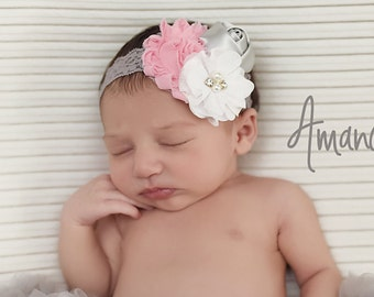 Baby Lace Headband, Gray Lace Headband. Pink Hair Bow, Newborn Headband, Gray Bow, Newborn Lace Headband