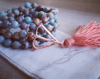 Natural Smooth Blue Opal Power Mala Prayer Bead Necklace  / Eco-Friendly Jewelry