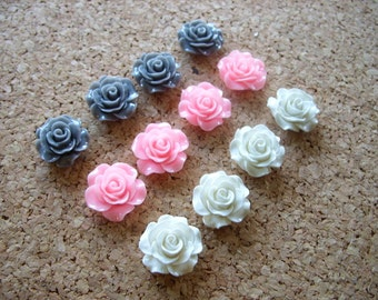 Fridge Magnets - Pink, Gray, White, Decorative Flower Magnets, Rose Magnets, Strong Magnet Set, Cute Magnets, Small Gift, Kitchen Magnets