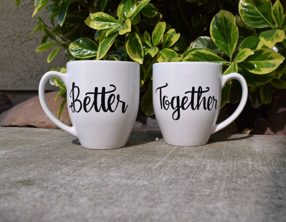 Better Together // Couples Coffee Mug Set // Coffee Cup // Cute Unique Couples Gift // Valentines Day Gift