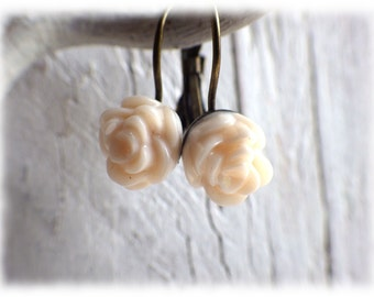 White Rose - Brisur earrings flower cream white vintage style