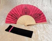 Fan, hand fan, hand decorated fan, contemporary fan, hot pink and black fan, gift idea, (peacock feather tattoo)