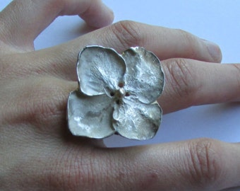 Flower Ring, Hydrangea ring, Silver and Gold Flower Ring