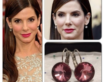 Crystal Antique Pink Celebrity Swarovski Rivoli Crystal Leverback French Clip Earrings Wedding Jewelry, Bride, Bridesmaid Gift