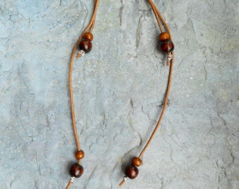 Brown leather earrings / wood beads / bohemian / genuine leather straps / ladies jewelery / handmade jewelry / extra long