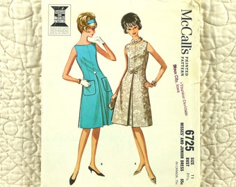 Dress, McCalls 6725 Pattern for Women, Fitted, French Darts, Sleeveless, Front Inset, Inverted Pleat, Back Zipper, 1963 Uncut, Size 11, 3-oz