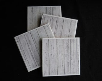White Wood Coasters ~ Ceramic Tile Coasters ~ Painted Wood ~ Distressed Wood ~ Drink Coasters ~ Housewarming Gift ~ Beach Decor ~ Old Wood