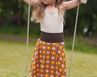 Organic Retro floral girls skirt jersey skirt Orange brown