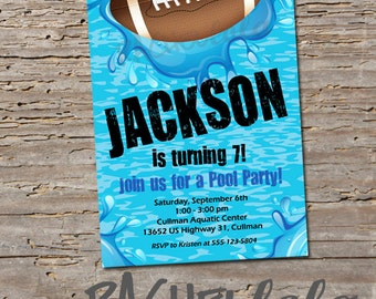 Football Pool Party, Birthday Invitation, Printable, DIY, swim party