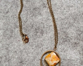 Ocre natural stone pendant necklace