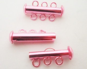 Electroplated Pink Slide Clasp, 3-strand slide lock for jewelry making supplies and findings