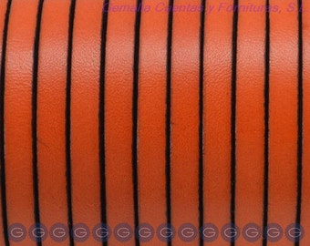 "7"" Orange 5mm Flat Leather with Black Trim"