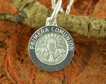 "925 S.Silver  Small Primera Communion Medal With18"" Chain / Made In Italy / Anniversary Gift Idea - Religious Jewelry, Her, His, Him"