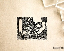 Knight on Horse Rubber Stamp - 2 x 2 inches