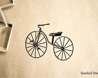 Old Bike Rubber Stamp - 2 x 2 inches