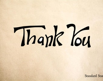 Thank You Hand Drawn Sign Rubber Stamp - 2 x 2 inches