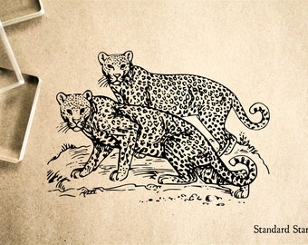 Leopard Pair Rubber Stamp - 2 x 2 inches