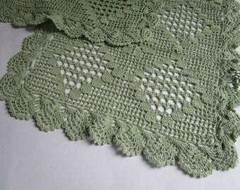 SALE 25%  Set of 2 teal colored vintage doilies, place mats for table decoration