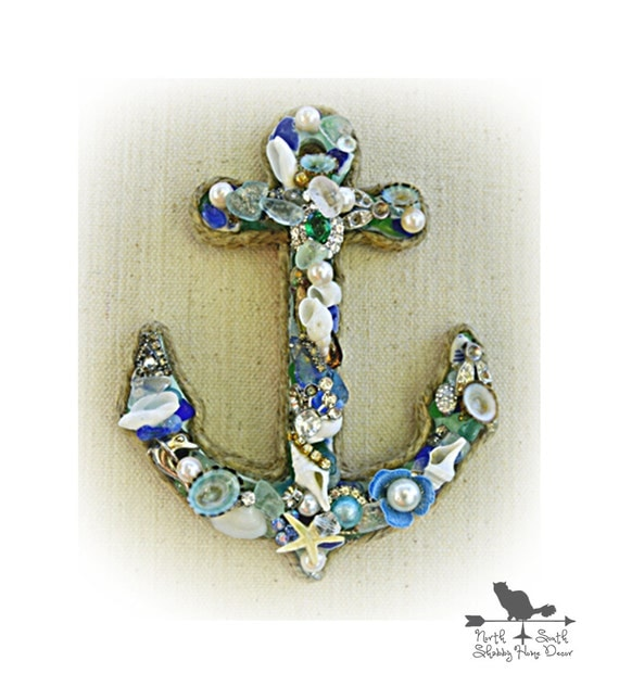 Anchor Wall Décor, Framed Vintage Jewelry / Shell Anchor, Beach Cottage Decor, Coastal Chic Framed Art Anchor