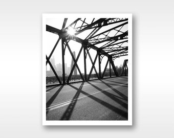 Streetscape in black and white photograph fine art print, 8x10/ 11x14