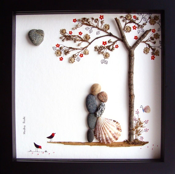 Unusual Wedding Gifts For The Bride And Groom : ... Wedding Gift-Pebble Art-Bride Groom Gift-Unique Wedding Picture