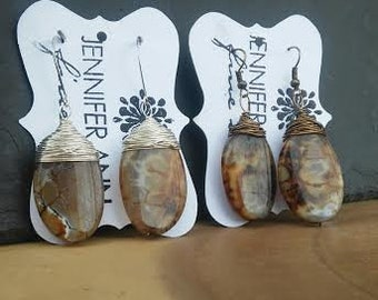 Amber Agate Wire Wrapped Stone Earrings Silver or Brass