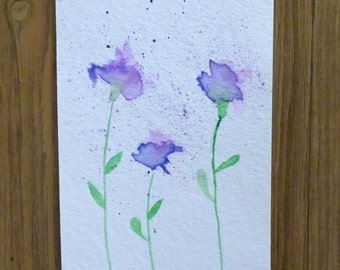 Purple Flowers Watercolor Painting