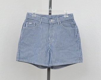 "Vintage 90s Lee Blue and White High Waisted Plaid Shorts, Short Shorts, Checked Shorts, High Rise Shorts, 31"" Waist"