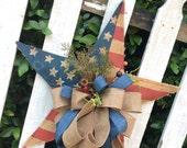 Star Wreath, Americana Wreath, 4th of July Wreath, Burlap Star, Burlap Americana Wreath, Fourth of July Wreath, USA Wreath, July 4th