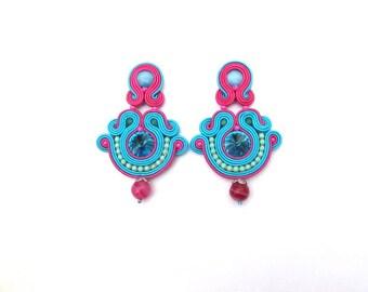 Oriental Turquoise Clip On Earrings - Soutache Clip On Earrings - Turquoise and Fuchsia Earrings with Crystals - Handmade Earrings