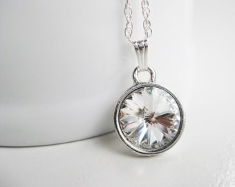 Clear crystal necklace, Swarovski pendant, sterling silver chain, simple necklace, sparkling handmade jewelry