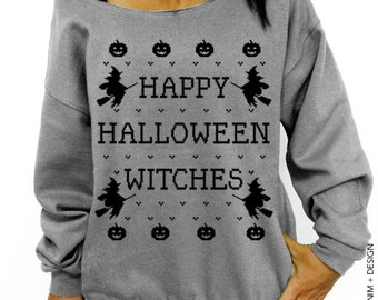 Happy Halloween Witches - Gray with Black Ink Slouchy Oversized Sweatshirt - Halloween Sweater