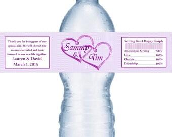 49 Purple Heart Personalized Wedding Water Bottle Labels