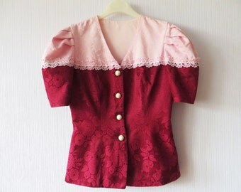 Crimson red vest top floral black red waistcoat by vintagedreambox - The splendid transformation of a vineyard in burgundy ...